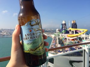 Angry Orchard Cider on the Top deck of the NCL Norwegian Spirit Waterslides Pool Ultimate Beverage Package