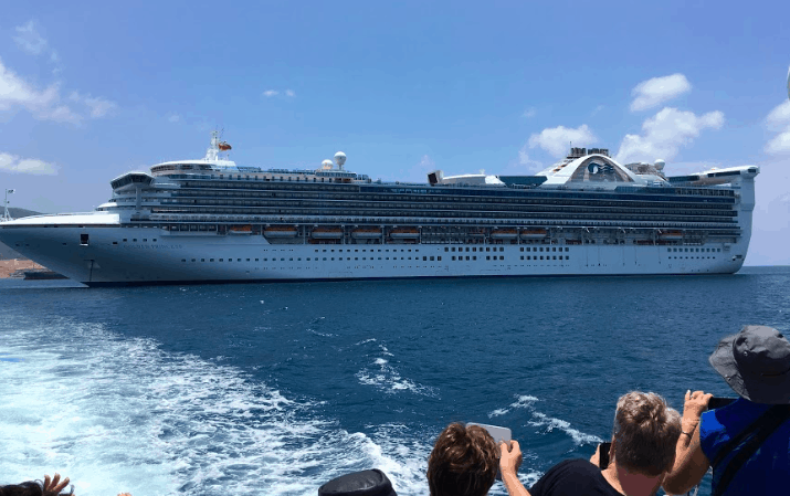 cruise ship tendering golden princess asia view of ship from ocean