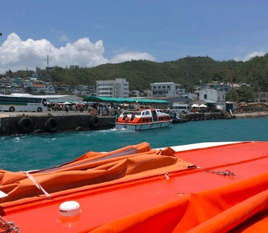 cruise ship tendering vietnam princess cruises orange tender boat