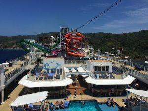 NCL Norwegian Getaway top deck water slides swimming pools