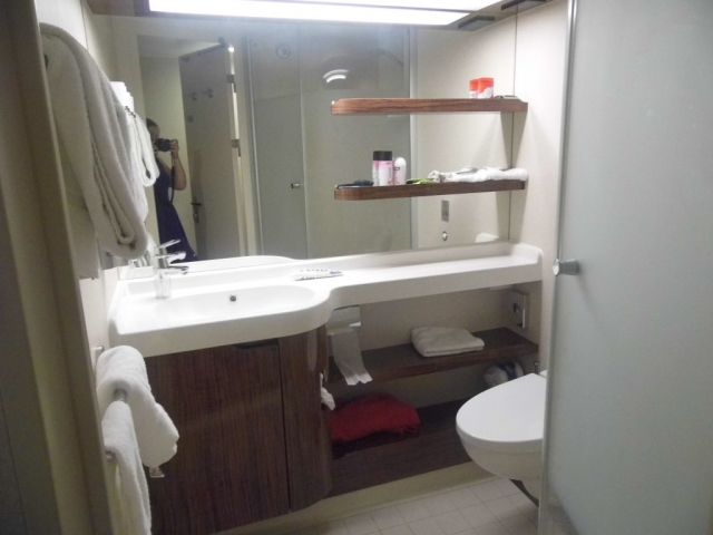 NCL Breakaway inside cabin bathroom