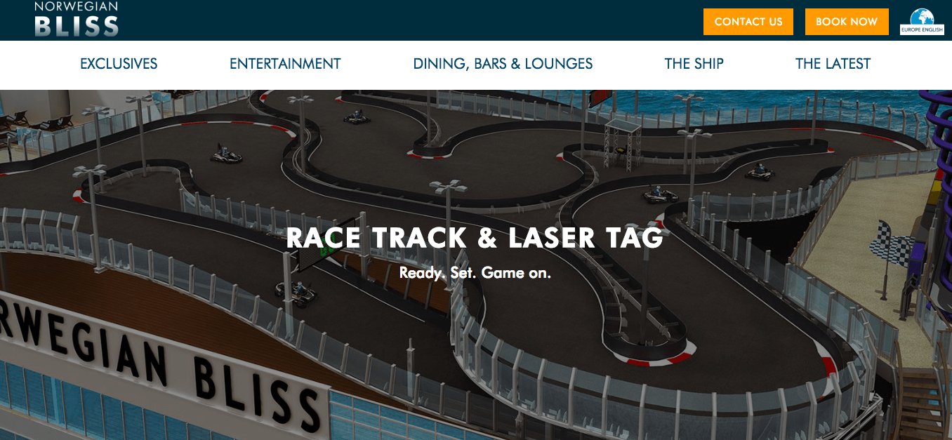 norwegian cruise line NCL go karts norwegian bliss website