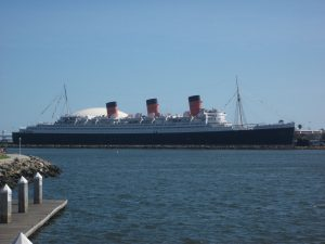 Queen mary in long beach ship on sea