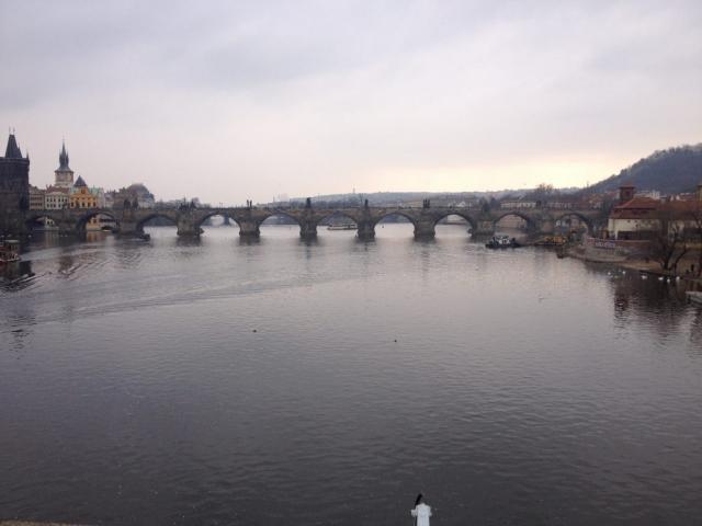 Prague Charles Bridge View River Czech Republic