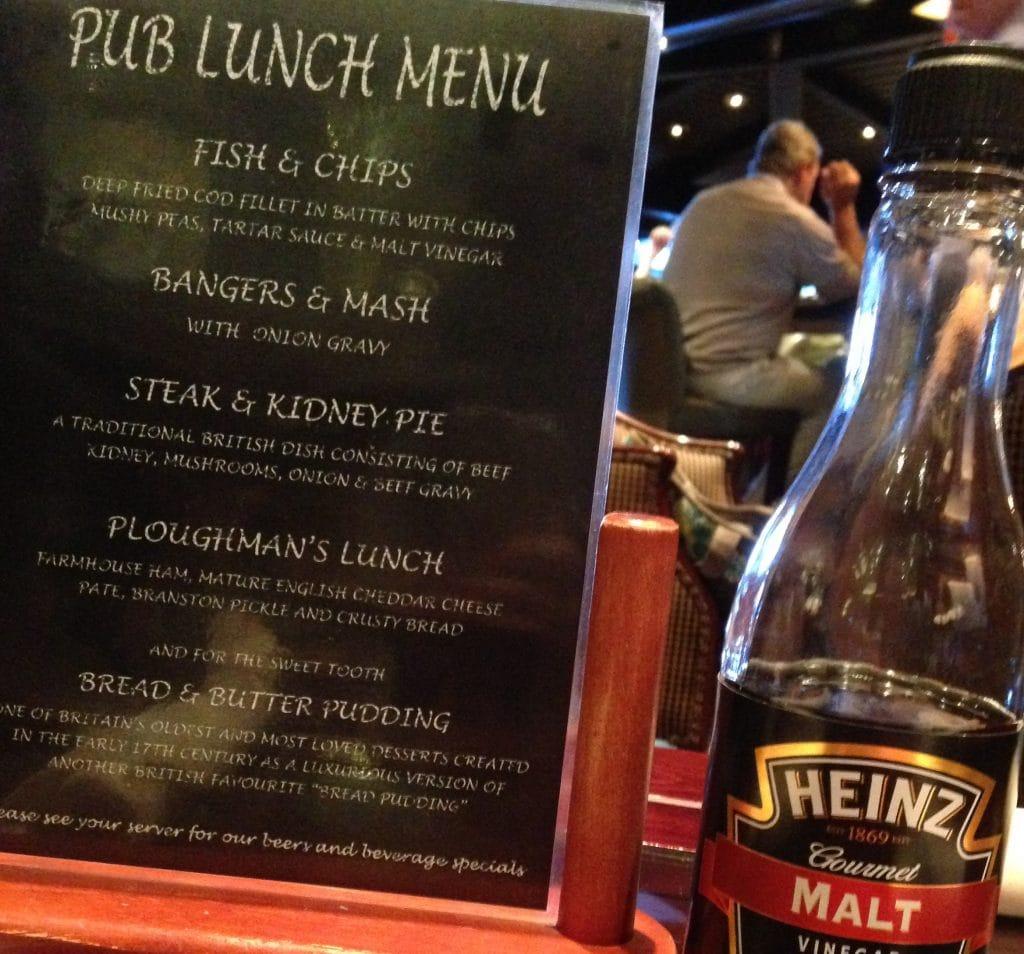 menu princess cruise line pub lunch