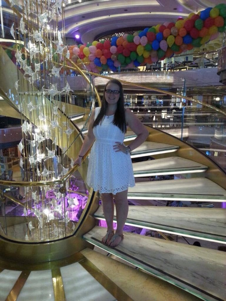 princess atrium girl white dress balloons staircase