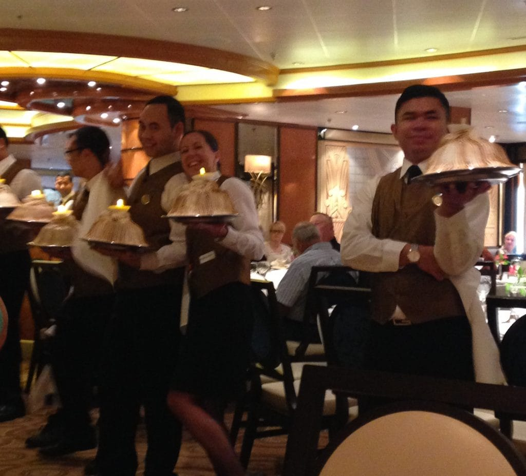 princess baked alaska restaurant last night dining food waiters silver platters