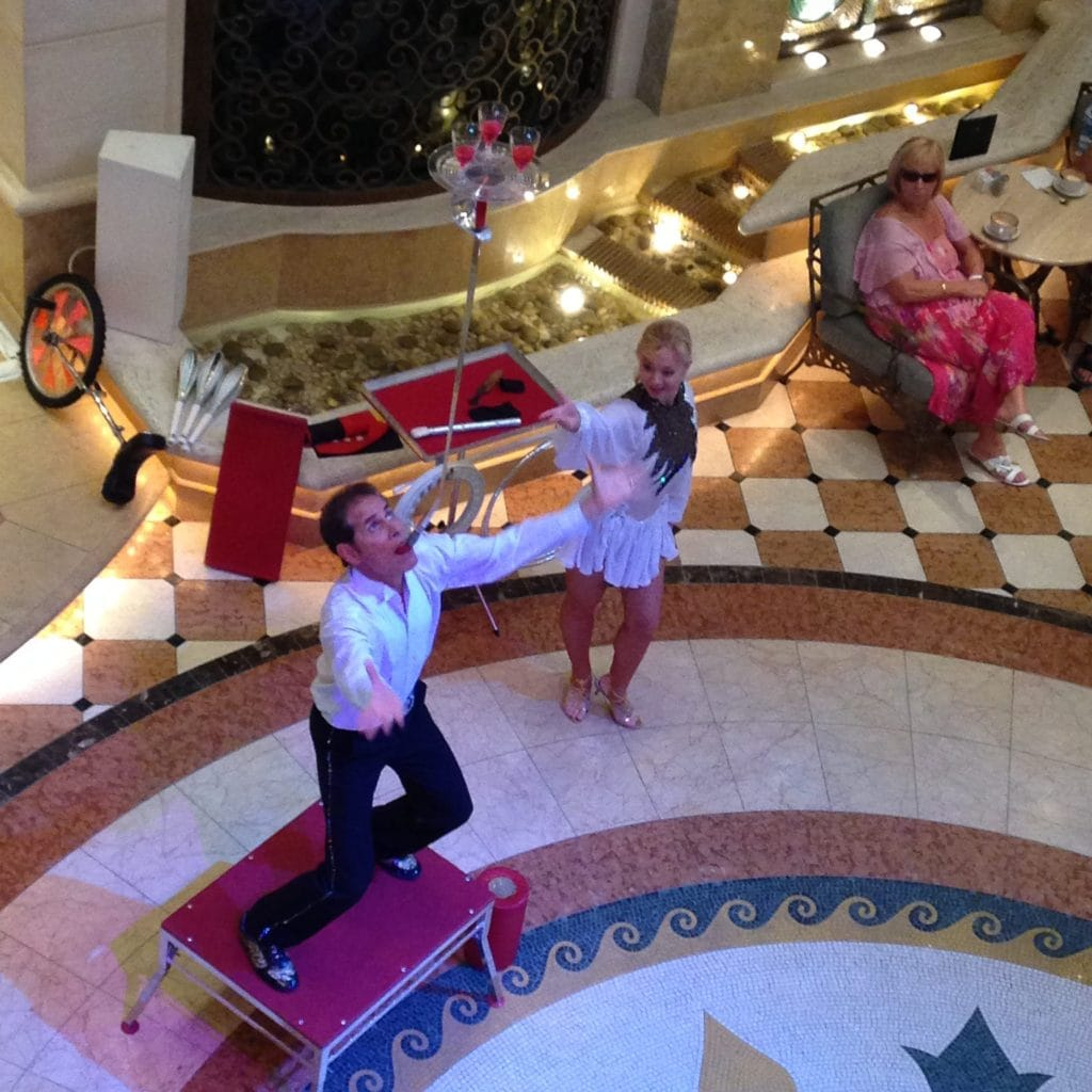 princess cruise ship atrium circus
