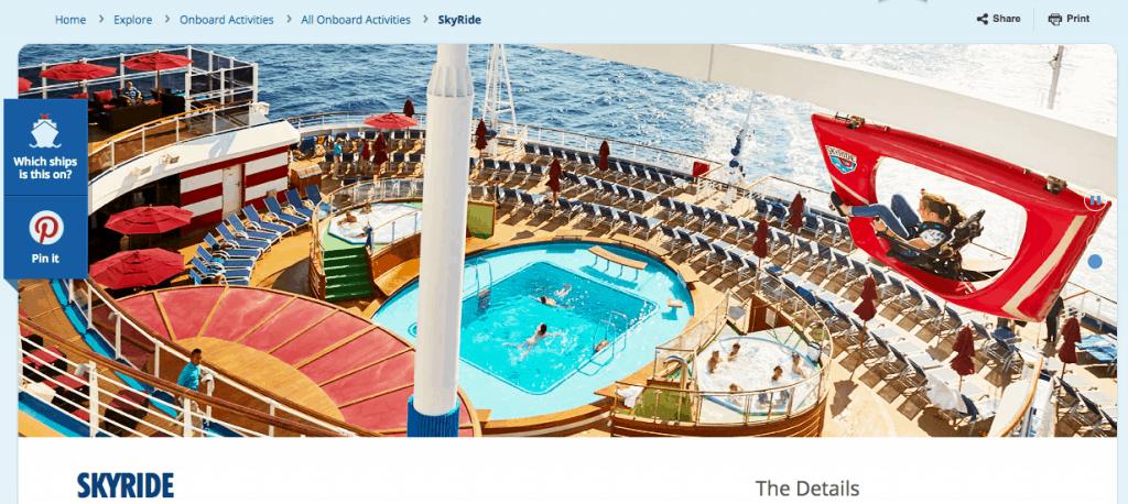 Carnival cruise line website skyride