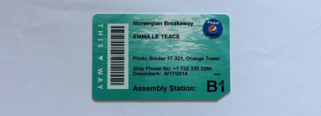 Norwegian Breakaway Soda Package Cruise Cruising Key Card Muster Station Cruising NCL