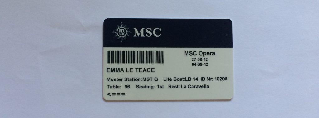 MSC cruise cruising room keycard dining
