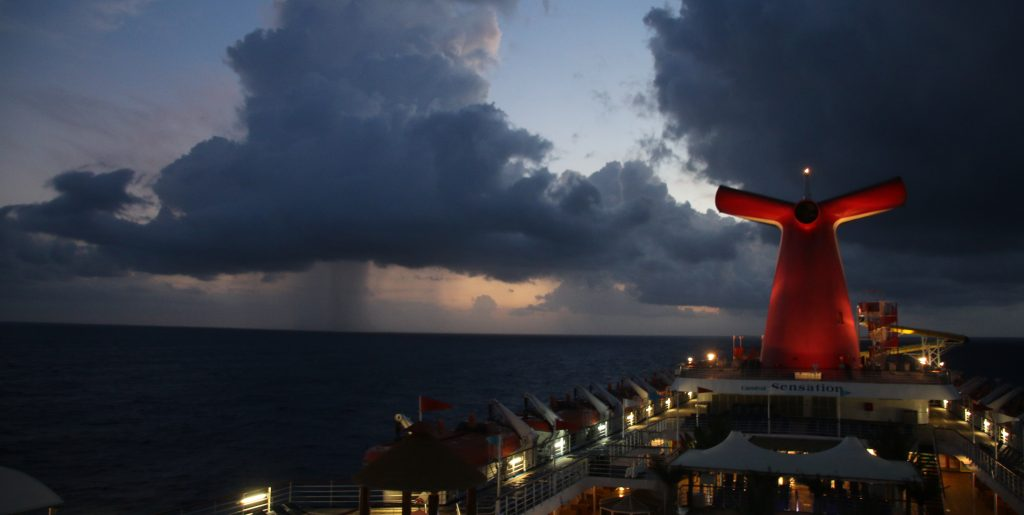 Carnival Sensation cruise ship early morning storm