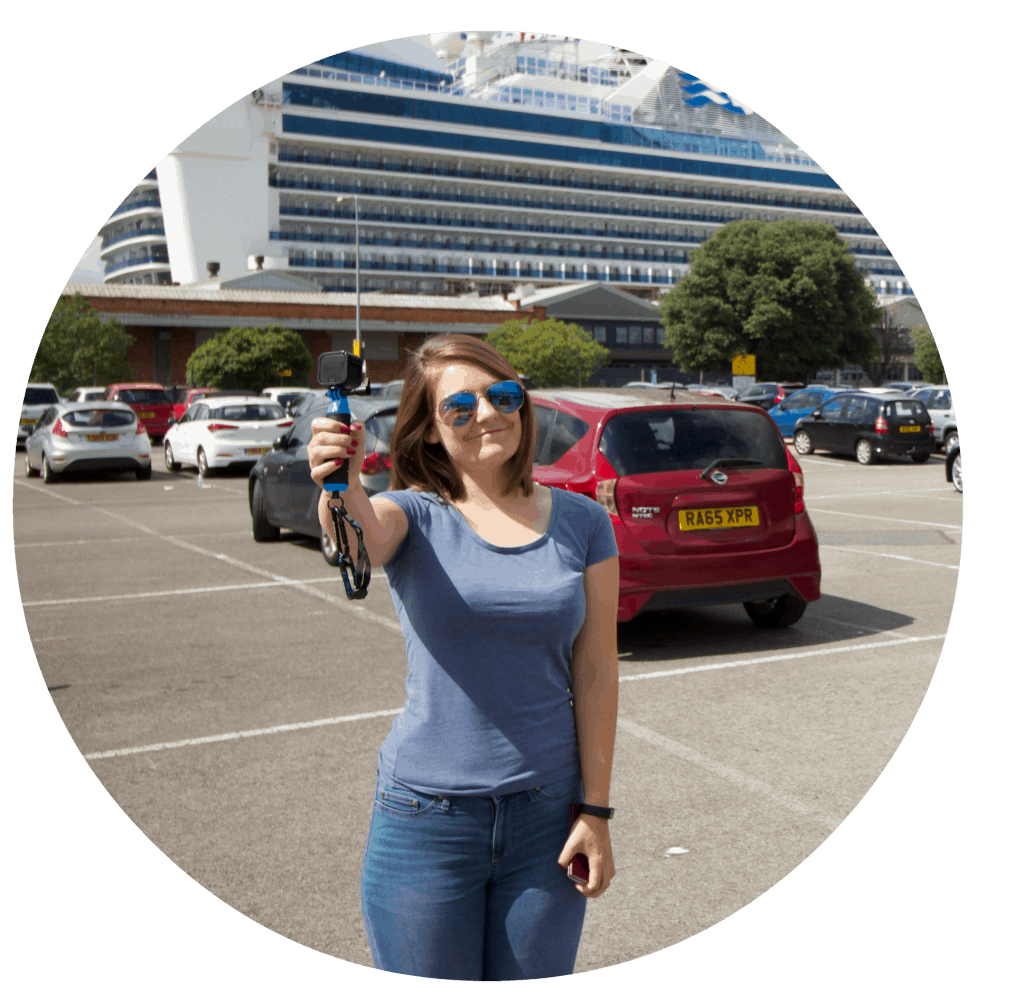 Emma cruises cruising isnt just for old people selfie go pro girl vlogging infront of cruise ship caribbean princess