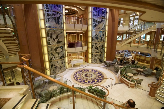 Caribbean Princess Atrium/Piazza Cruise Ship Grand Piano Plants Glass Lifts Stairs