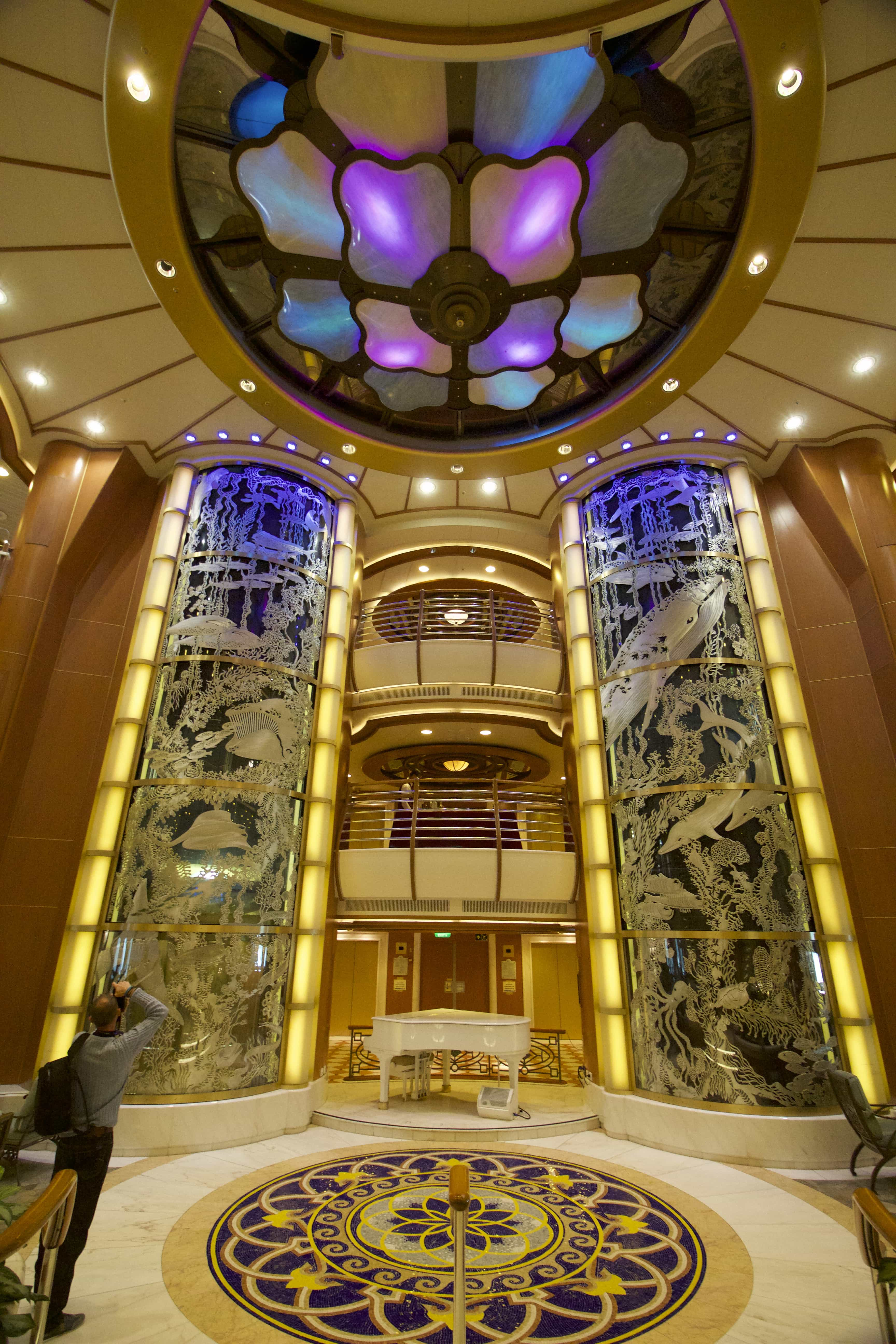 Caribbean Princess Atrium/Piazza Glass Lifts Grand Piano Lights