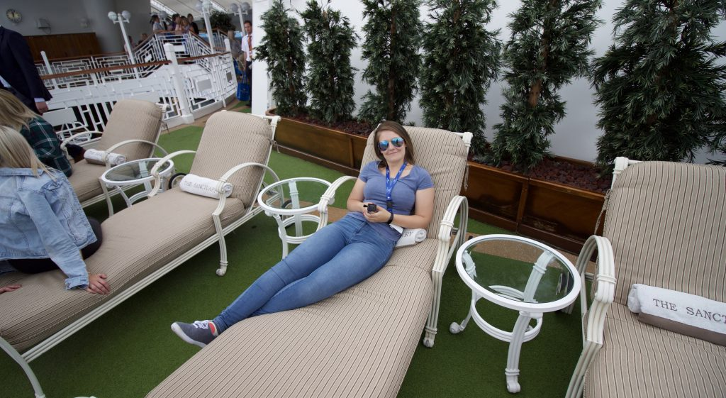 caribbean princess sanctuary girl sun bed ship visit