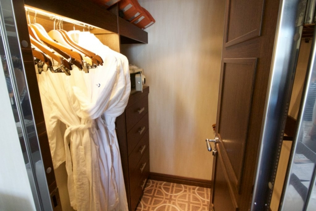 Celebrity Eclipse - Penthouse suite, walk in wardrobe! cabin balcony luxury cruise cruise ship dressing gown safe life jacket