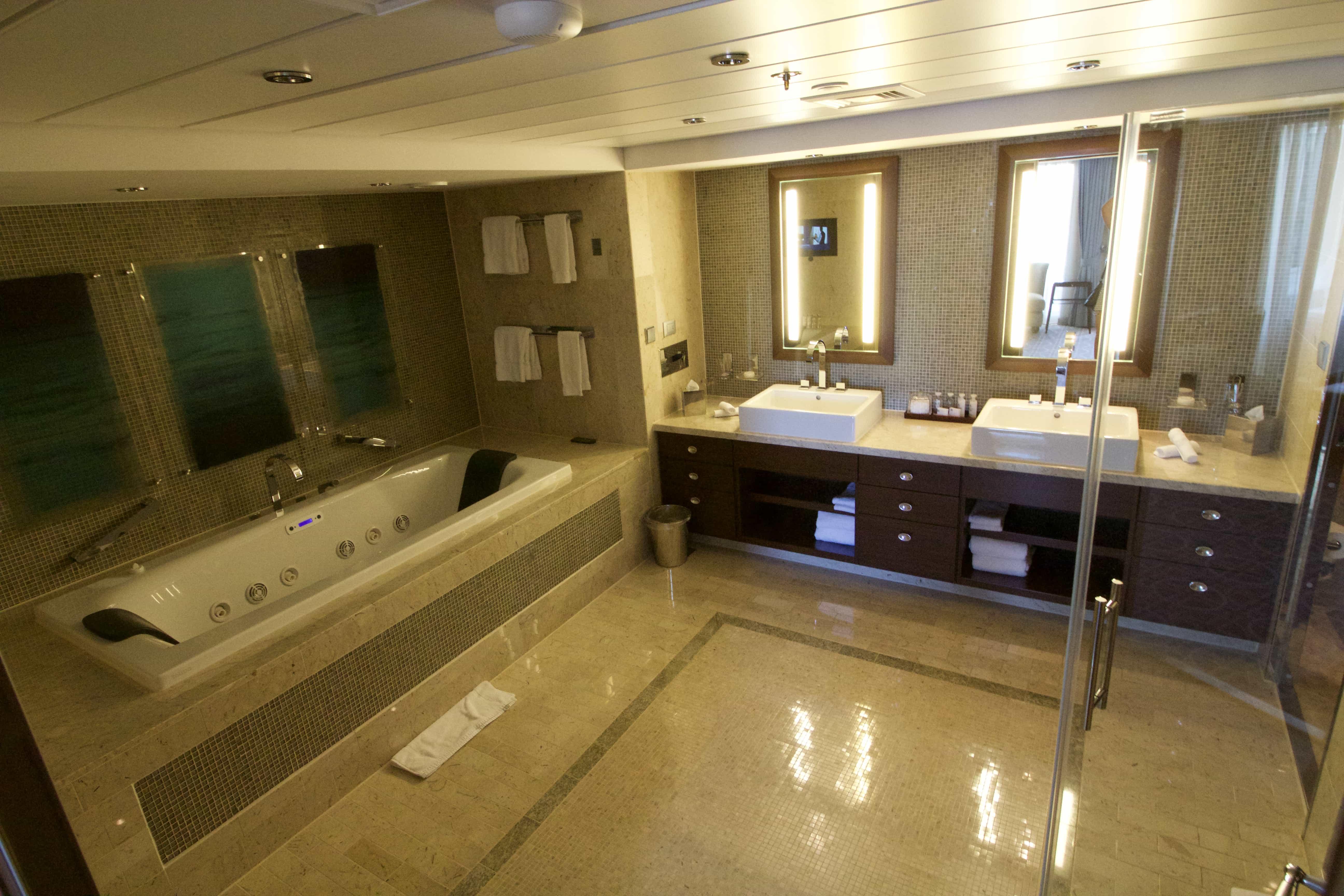 Celebrity Eclipse - Penthouse Suite, Bathroom bath double sinks showers luxury