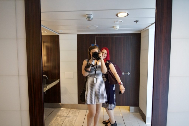 Celebrity Eclipse - Bathroom Selfie with Sanna toilets mirror camera girls fun happy pink hair stripey dress canon 600d