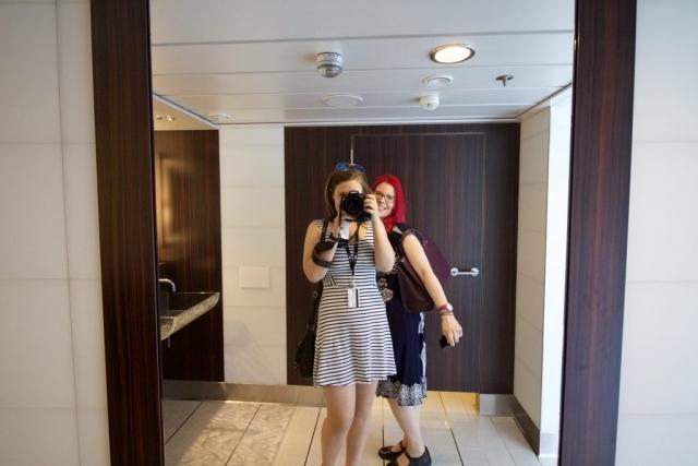 Celebrity Eclipse - Bathroom Selfie with Sanna toilets mirror camera girls fun happy pink hair stripey dress canon 600d