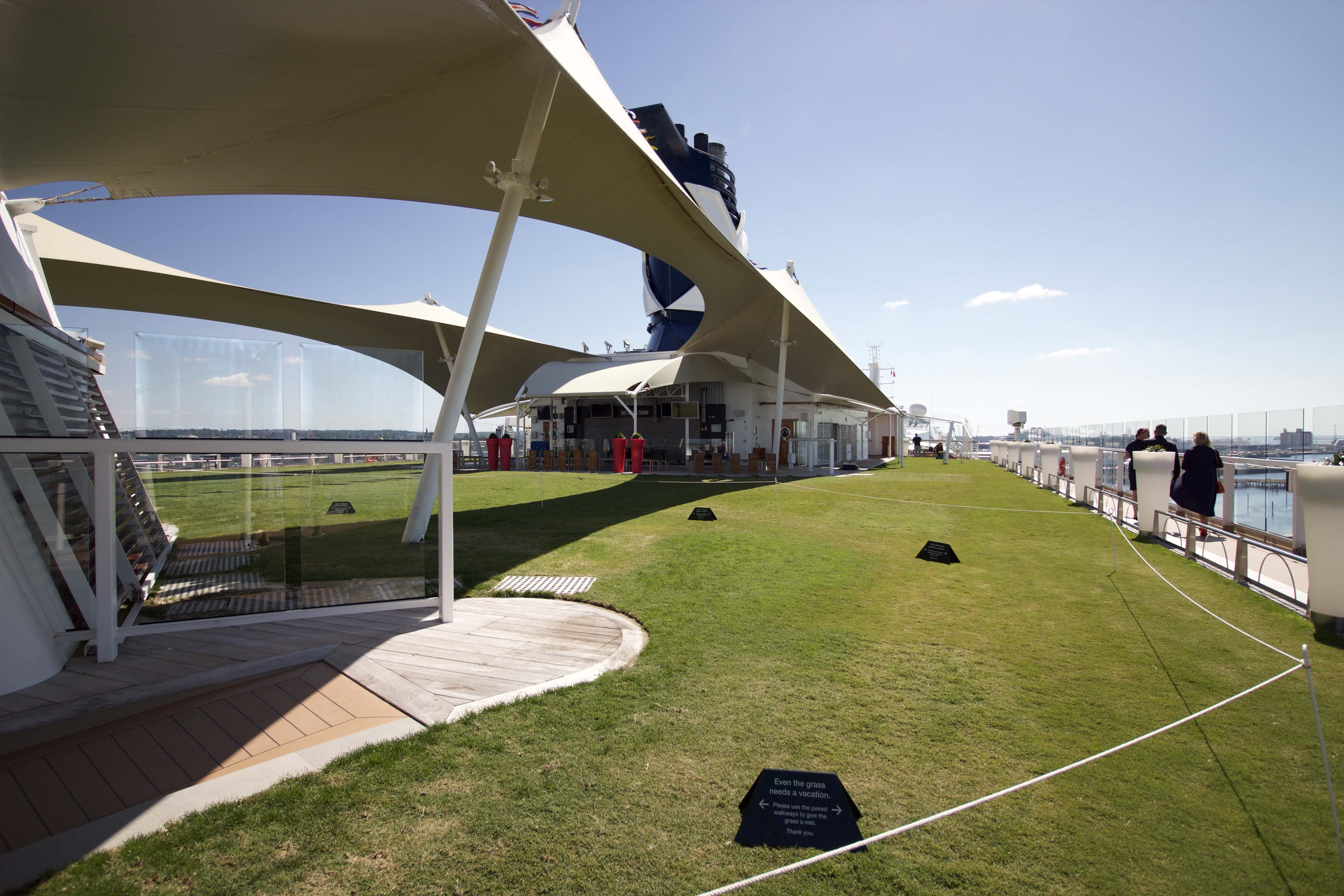 Celebrity Eclipse - Lawn club grass sunshine funnel cruise ship