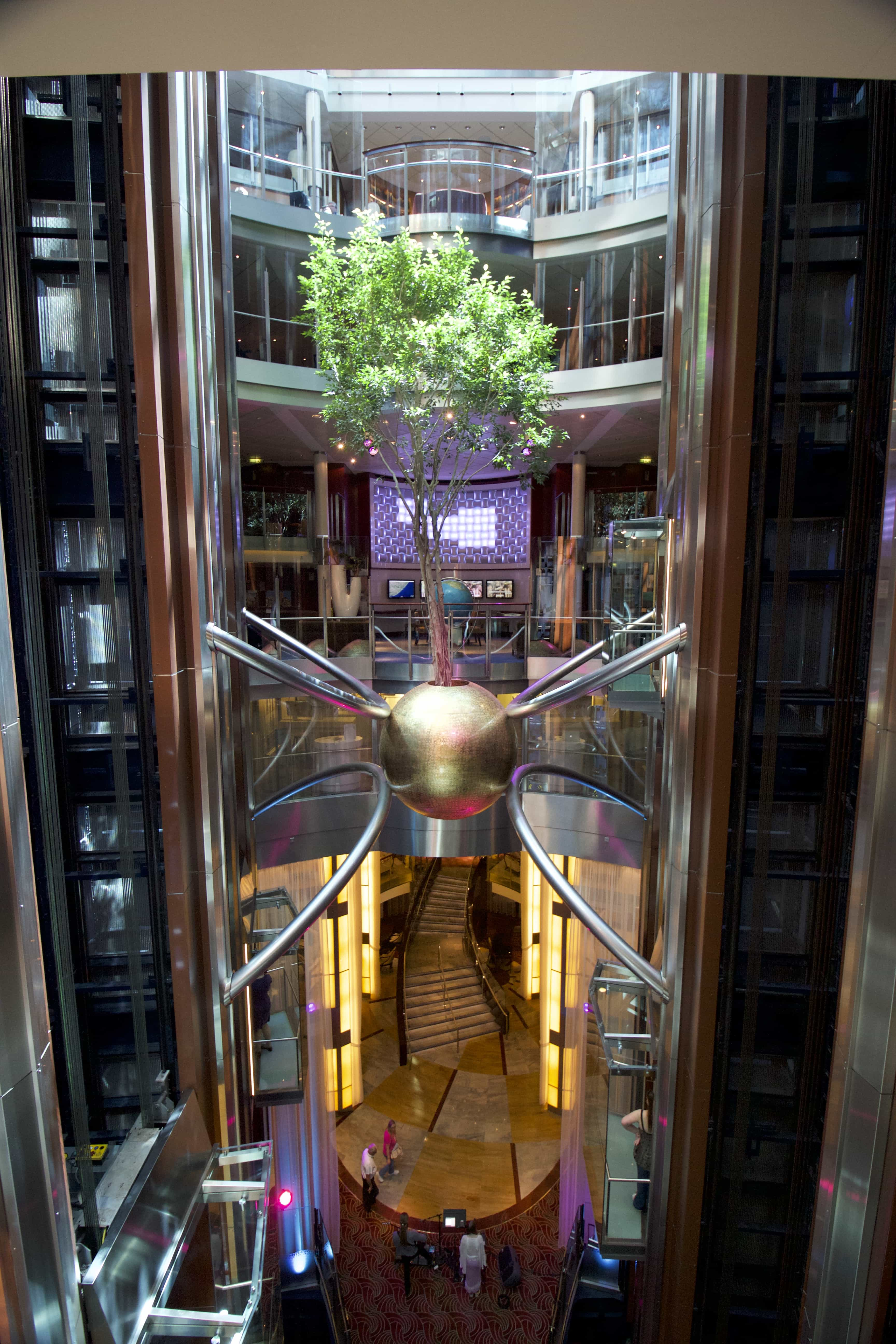 Celebrity Eclipse - Atrium tree lifts stairs