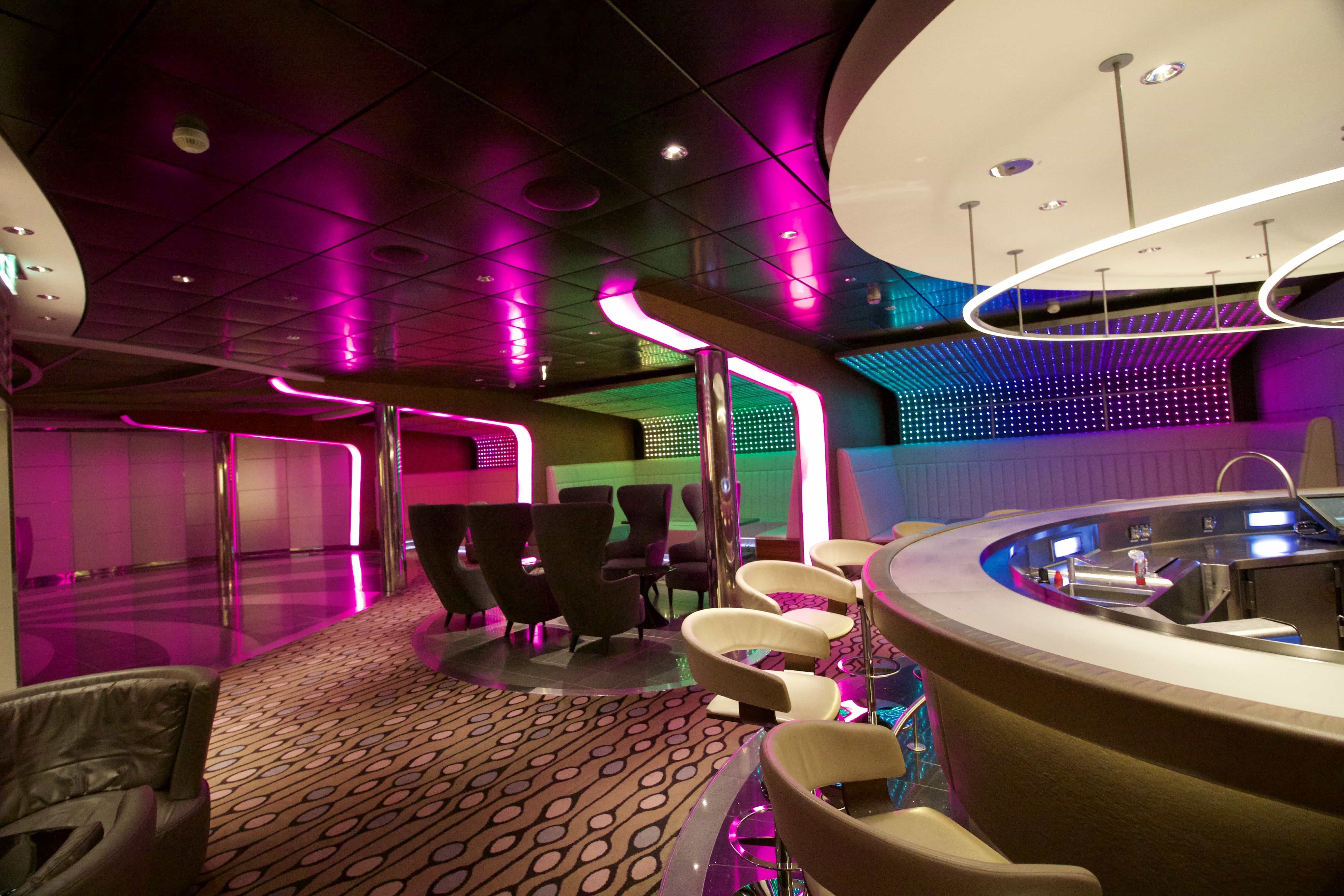 Celebrity Eclipse - Nightclub drinks alcohol party colourful club lights