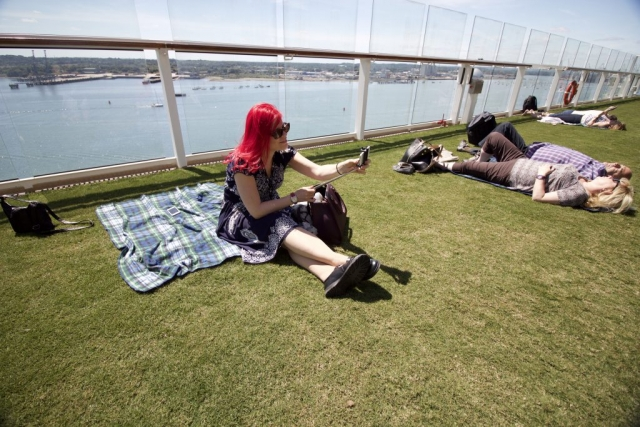 Celebrity Eclipse - Lawn Club Sanna vegan Cruiser grass blanket self stick pink hair girl