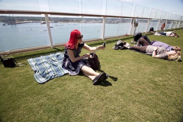 Celebrity Eclipse - Lawn Club Sanna vegan Cruiser grass blanket self stick pink hair girl