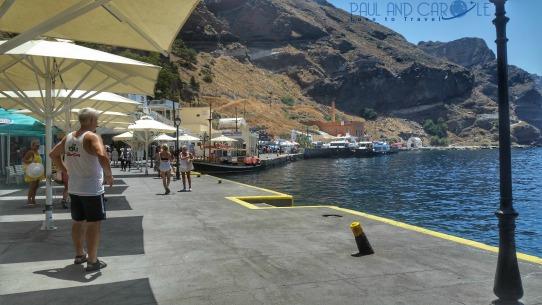 Skala Pier santorini greece cruise cruise ship cruise line restaurants cafes