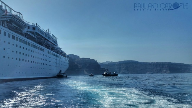 tender boat santorini cruise line cruise ship sea ocean view from tender greece