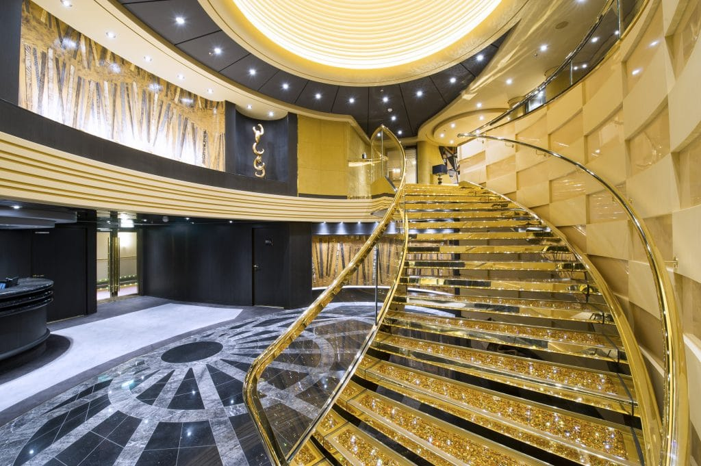 msc preziosa staircase shiny glitter atrium