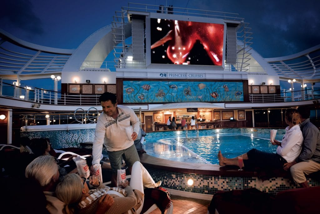 princess cruise line cruises cruise ship movies under the stars tv screen popcorn pool