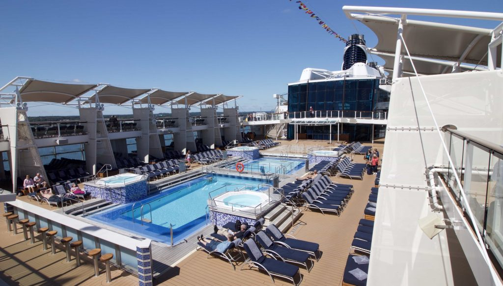 celebrity eclipse top deck pools swimming sun bathing