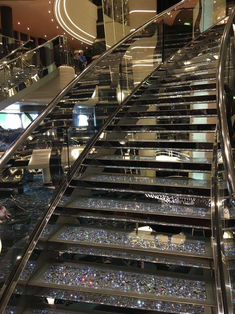 msc preziosa cruise ship shiny staircase crystals