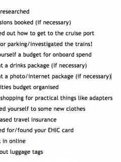 pre cruise planning checklist