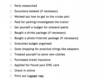 pre cruise planning checklist