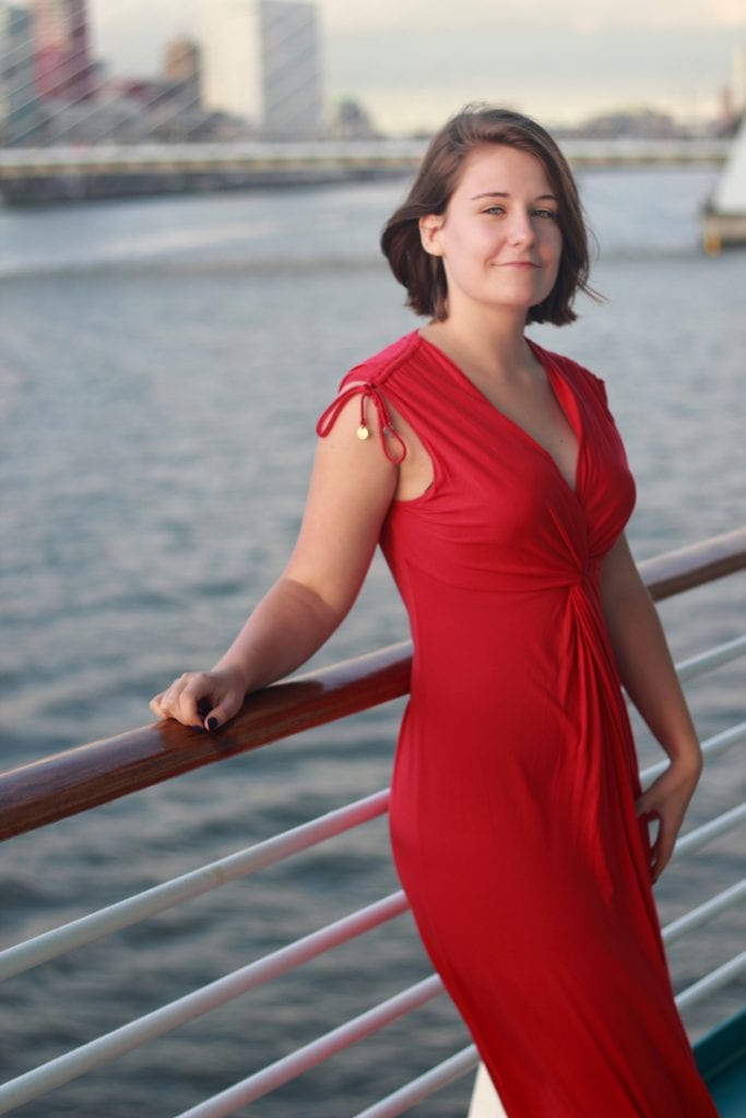 royal caribbean formal night dress code women red dress balcony cruise ship