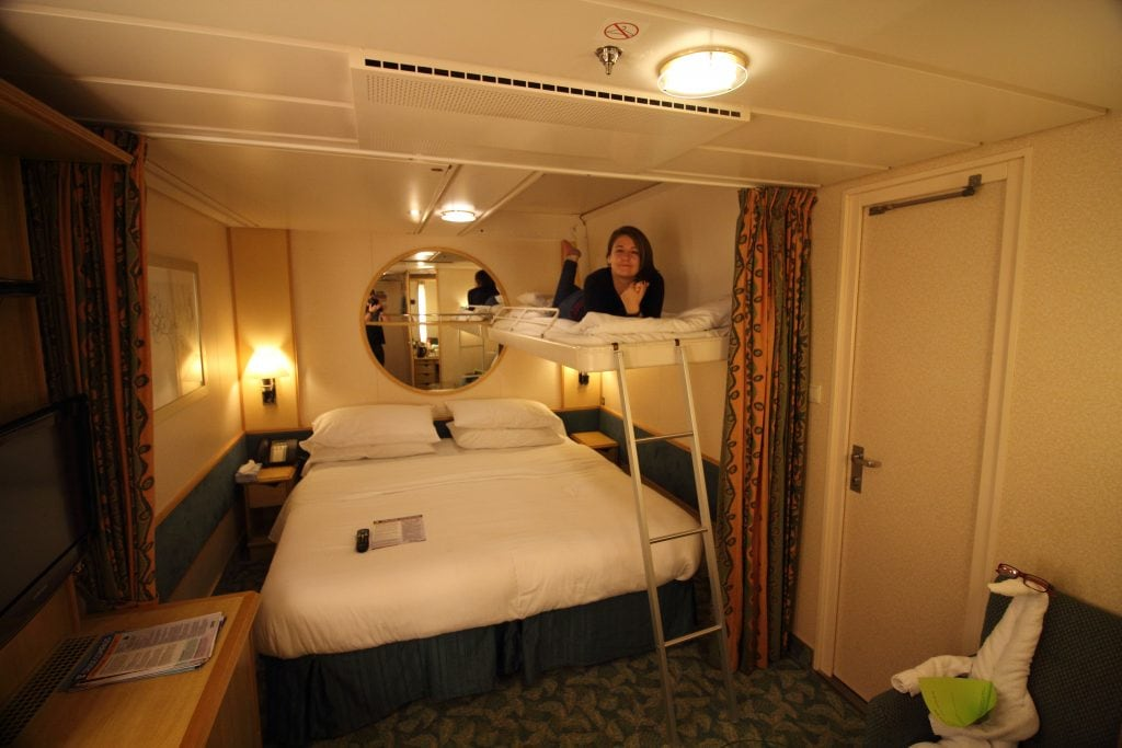 royal caribbean cruise ship independence of the seas inside cabin three four people bunk beds from ceiling