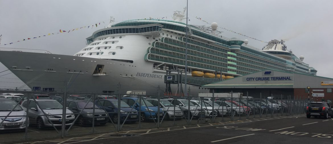 Royal caribbean independence of the seas in southampton cruise port clouds rainy day