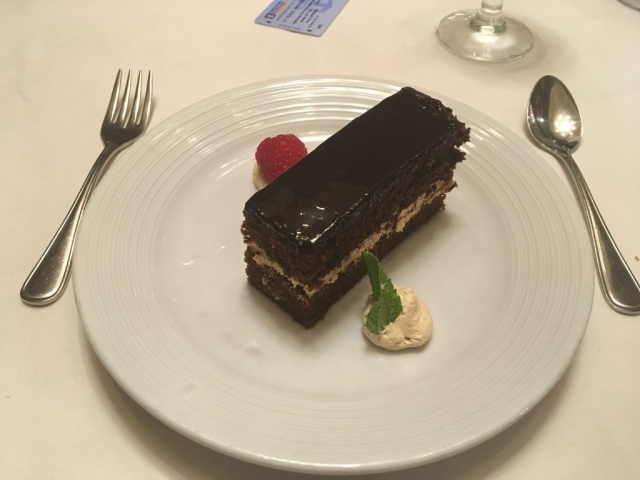 royal caribbean independence of the seas chocolate cake desert main dining room dinner