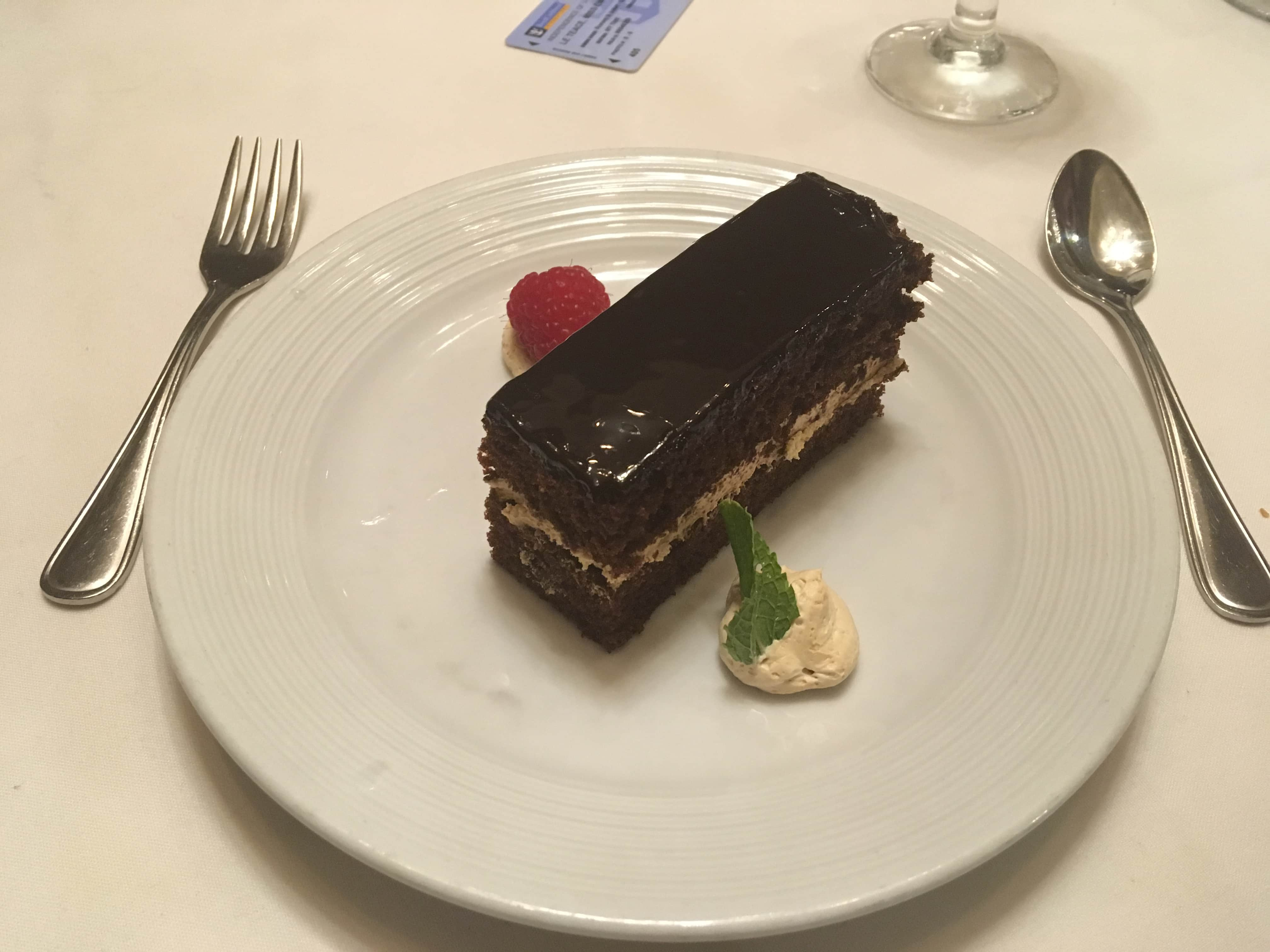 royal caribbean independence of the seas chocolate cake desert main dining room dinner