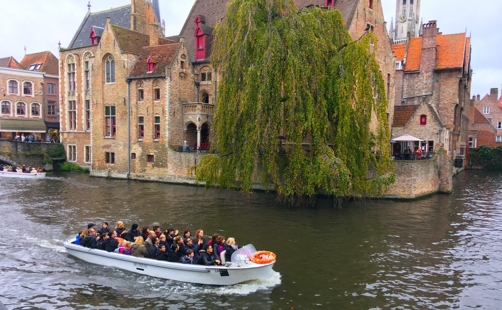 bruges belgium zebrugge boat trip reflection in the water cruise express