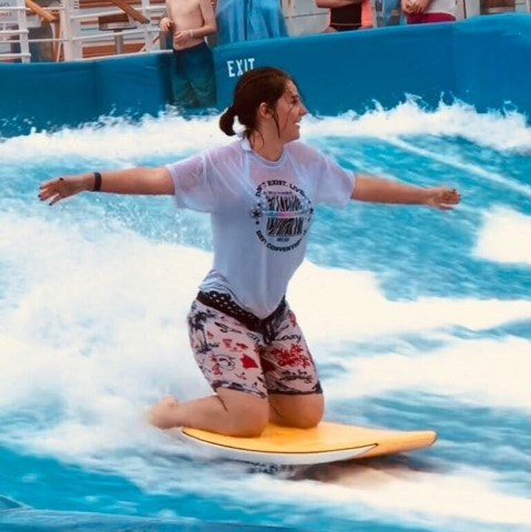 royal caribbean independence of the seas girl flowrider surfing simulator shorts tshirt swimming costume