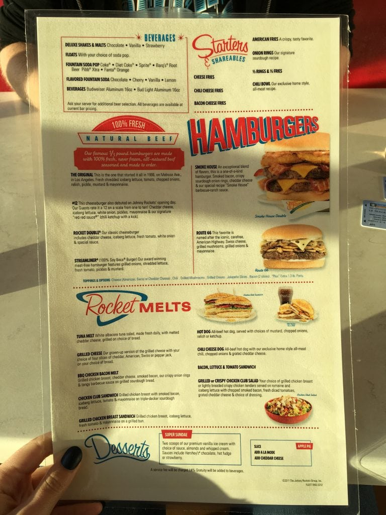 johnny rockets menu royal caribbean independence of the seas