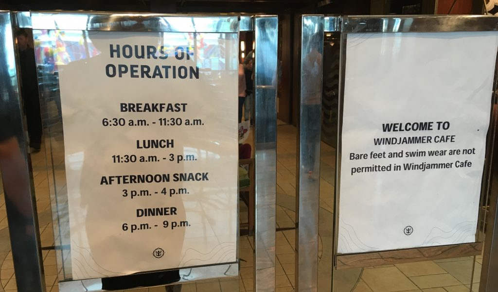 independence of the seas royal caribbean buffet windjammer closed opening times sign