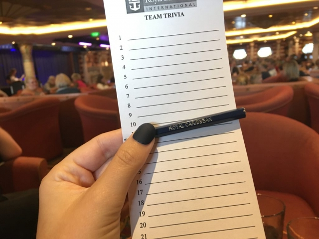 royal caribbean independence of the seas quiz trivia pencil