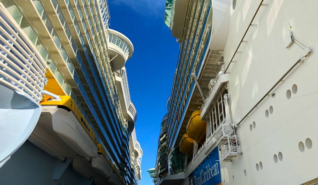 oasis of the seas and independence of the seas royal caribbean ships side by side