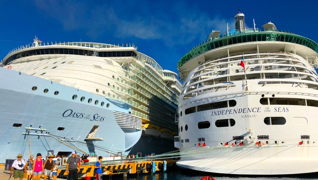 Oasis Of The Seas Independence Side By Cruise Ships Royal Caribbean