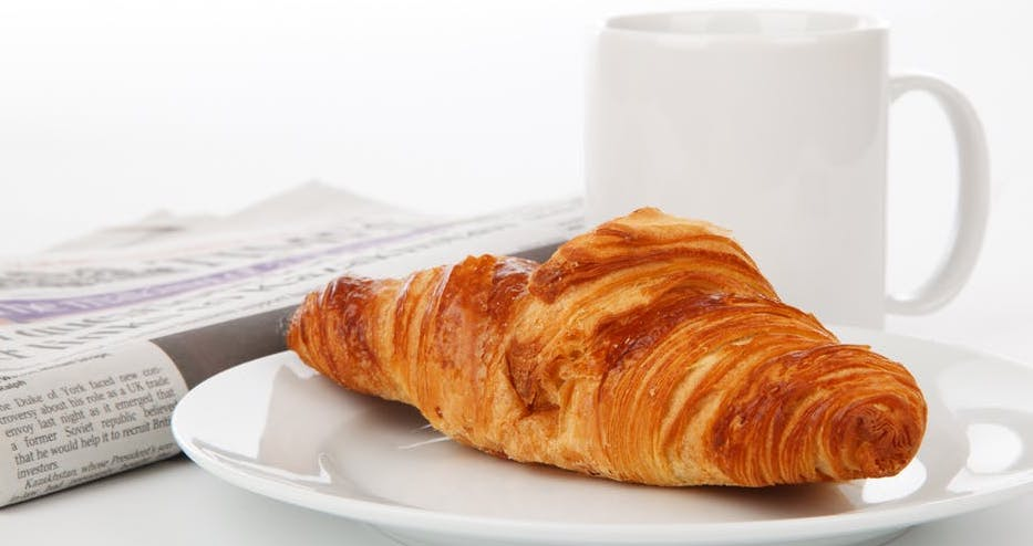Coffee and Croissant p&o free breakfast room service